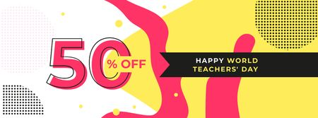 Modèle de visuel World Teachers' Day Discount Offer - Facebook cover
