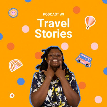 Ontwerpsjabloon van Podcast Cover van Travel Podcast Topic Announcement with Smiling Woman