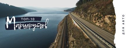Road in scenic landscape Facebook cover – шаблон для дизайна