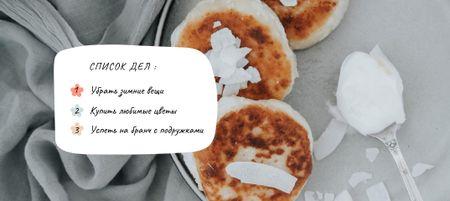 Plantilla de diseño de Sweet Cheese Pancakes VK Post with Button