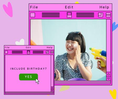 Birthday Party Announcement with Happy Smiling Woman Facebook – шаблон для дизайну