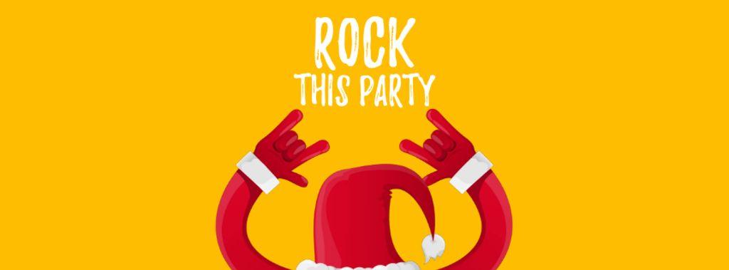 Santa showing rock sign — Modelo de projeto