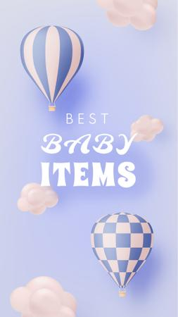 Baby Shop Offer with Air Balloon in Clouds Instagram Story – шаблон для дизайну