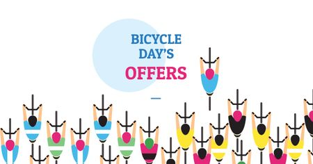 Bicycle Day Offer with Cyclists Facebook ADデザインテンプレート