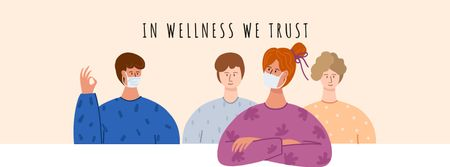 Healthcare concept with people wearing Mask Facebook cover Modelo de Design