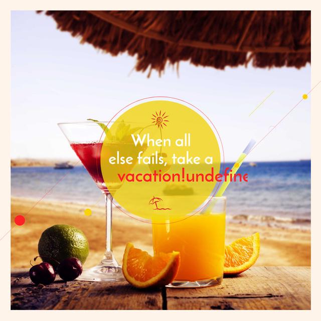 Ontwerpsjabloon van Instagram AD van Vacation Offer Cocktail at the Beach