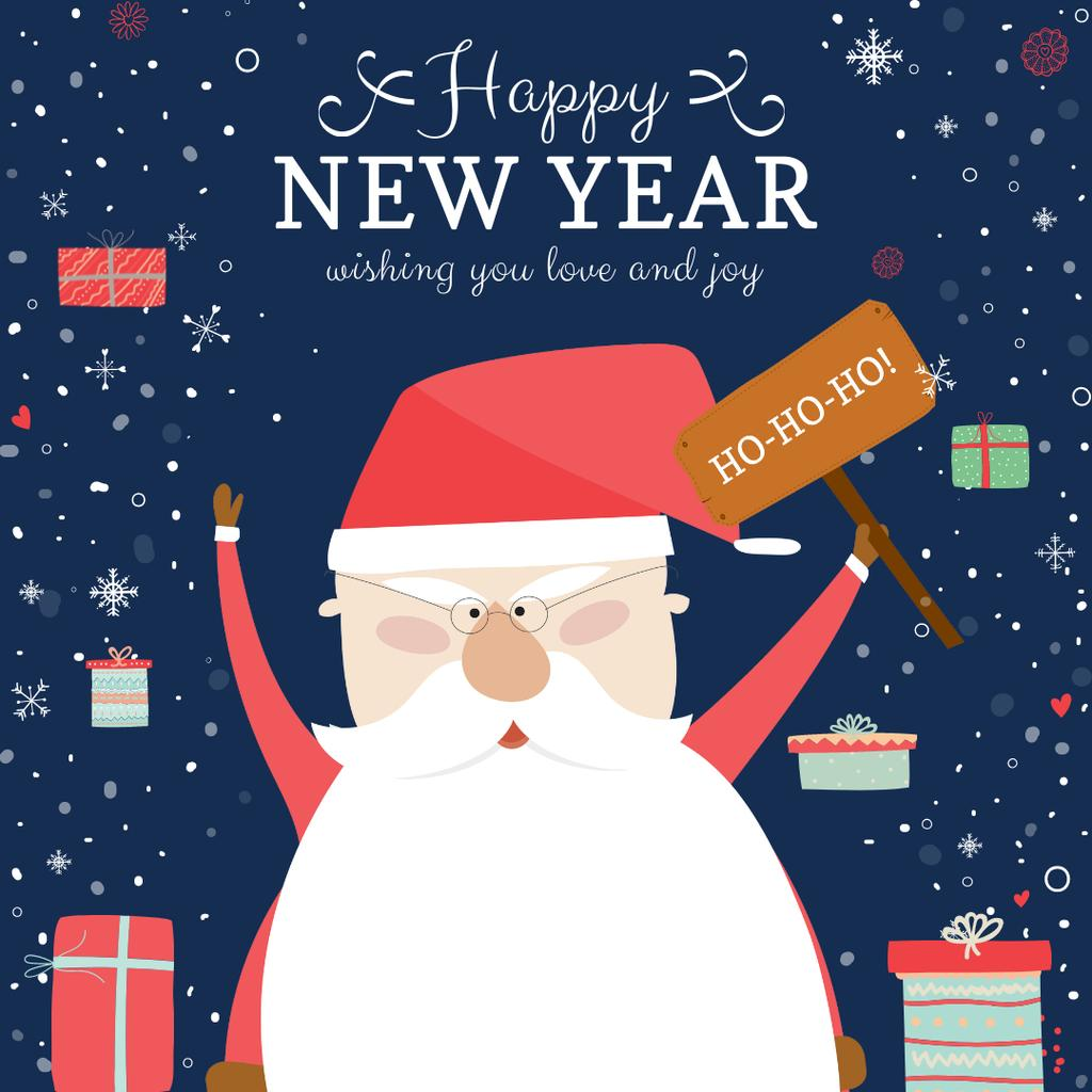 Happy New Year Greeting with Santa and Gifts Instagramデザインテンプレート