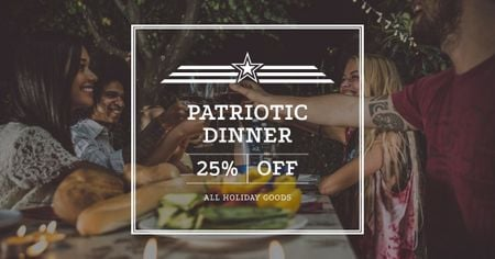 Patriotic Dinner Offer on Independence USA Day Facebook AD Modelo de Design