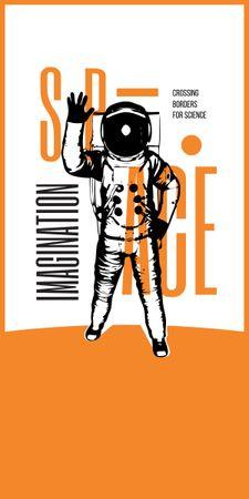 Space Exhibition with Astronaut Sketch in Orange Graphic Modelo de Design