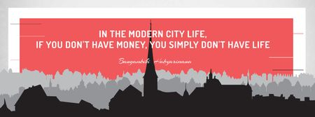 Citation about money in modern City life Facebook coverデザインテンプレート