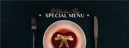 Valentine's Day Dinner with Heart Box Facebook coverデザインテンプレート