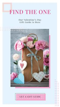 Paper Gift bag with Roses and Colorful Hearts