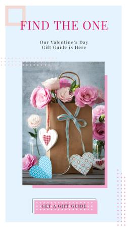 Paper Gift bag with Roses and Colorful Hearts Instagram Story Modelo de Design