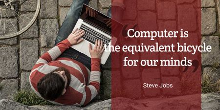 Plantilla de diseño de motivational quote with young man using laptop Image