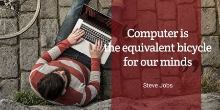 Motivational quote with young man using laptop Imageデザインテンプレート