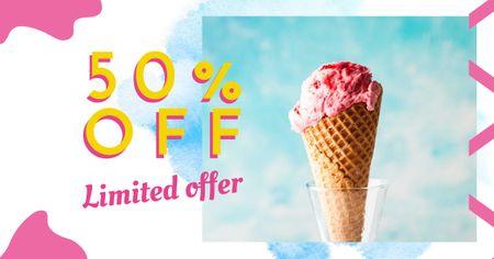 Modèle de visuel Melting ice cream in pink offer - Facebook AD