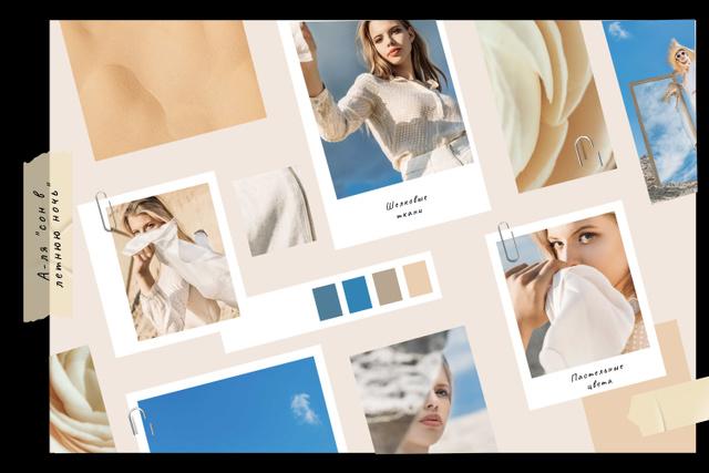 Stylish Girl in summer clothes Mood Board – шаблон для дизайна