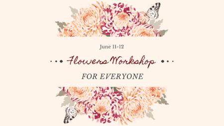 Flowers Workshop Announcement with Tender Peonies FB event cover – шаблон для дизайна