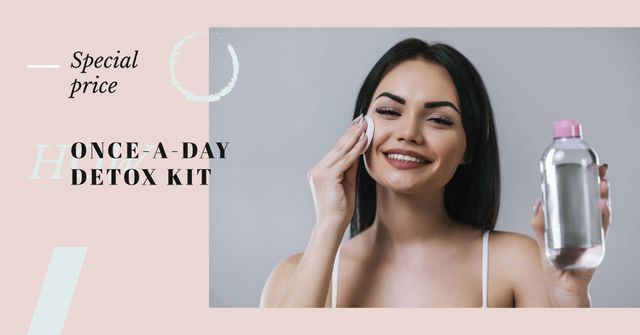 Woman cleaning Face from makeup Facebook AD Design Template