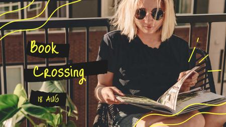 Modèle de visuel Book Crossing Announcement with Girl Reading on Terrace - FB event cover