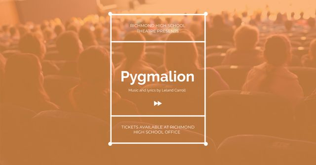 Pygmalion performance with People in Theatre Facebook AD Modelo de Design