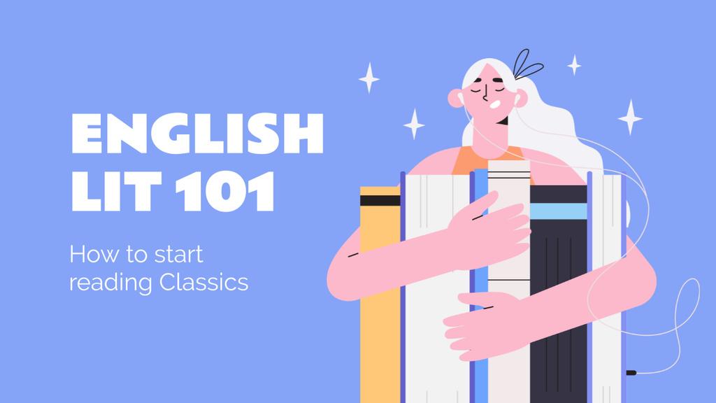Girl Reading Books in English Youtube Thumbnail Design Template