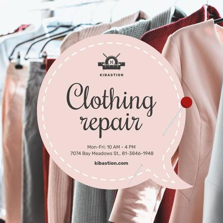 Wardrobe with Clothes on Hangers in Pink Instagramデザインテンプレート