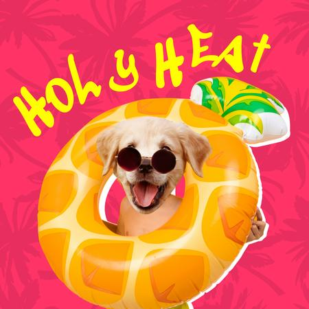 Funny Cute Dog in Bright Inflatable Ring Instagram Modelo de Design
