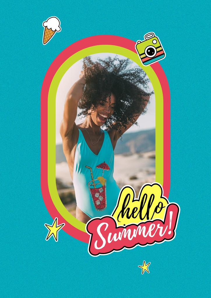 Summer Inspiration with Happy Girl on Beach Posterデザインテンプレート