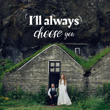 Romantic Couple celebrating Wedding on Nature Instagram – шаблон для дизайну