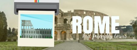 Designvorlage Meet In Ancient Rome in famous Places für Facebook Video cover