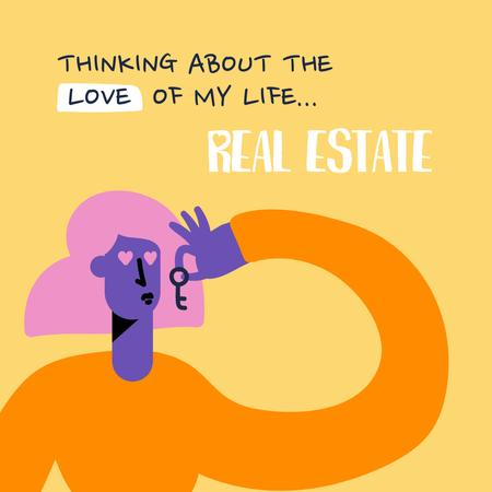 Template di design Funny Ad of Real Estate Agency with Woman holding Key Instagram