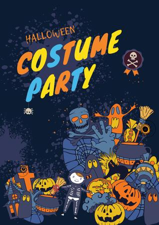 Halloween Party Announcement with Holiday Attributes Poster – шаблон для дизайну