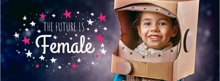 Plantilla de diseño de Women's day greeting with Girl in funny costume Facebook cover