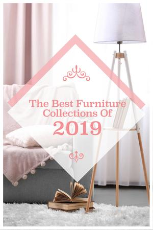 Furniture Offer with Cozy Interior in Light Colors Pinterestデザインテンプレート