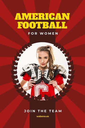 Plantilla de diseño de American Football Team Invitation with Girl in Uniform Tumblr