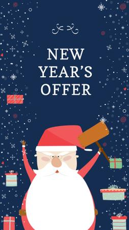 New Year's Special Offer with Funny Santa Instagram Story Modelo de Design