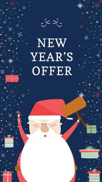Plantilla de diseño de New Year's Special Offer with Funny Santa Instagram Story