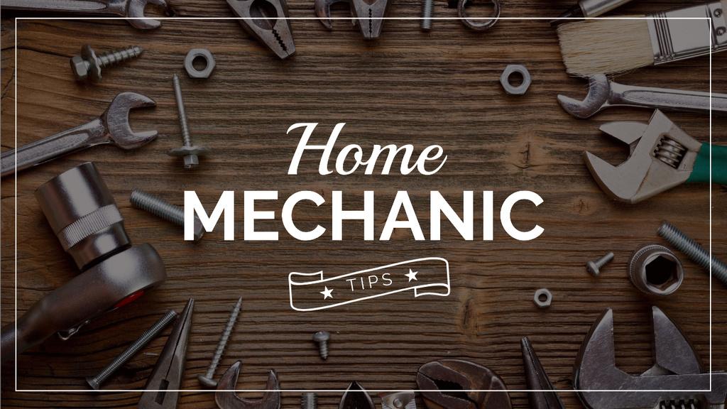 Mechanic Tools and Screws on Wooden Table Youtube Thumbnail Modelo de Design