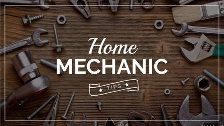 Mechanic Tools and Screws on Wooden Table Youtube Thumbnailデザインテンプレート