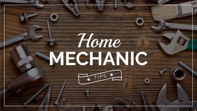 Szablon projektu Mechanic Tools and Screws on Wooden Table Youtube Thumbnail