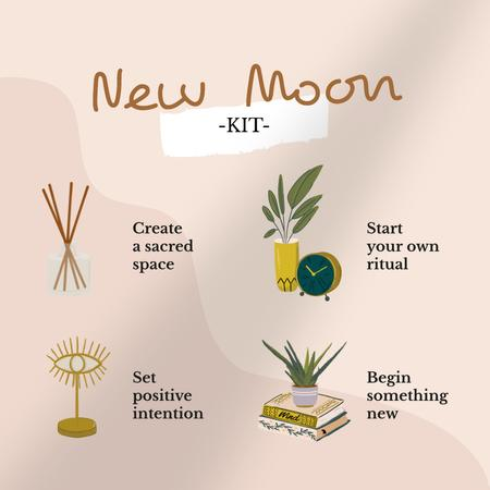 Plantilla de diseño de New Moon Kit illustration Instagram