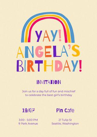 Template di design Birthday Party Announcement with Bright Rainbow Invitation