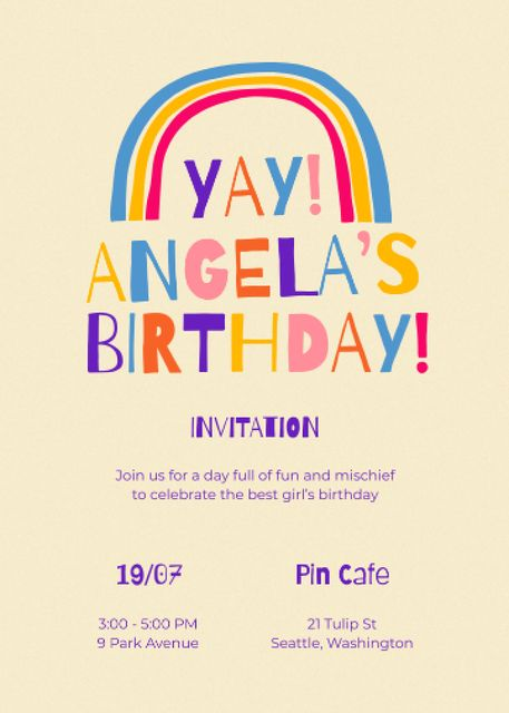Birthday Party Announcement with Bright Rainbow Invitation Modelo de Design