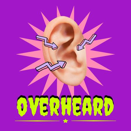 Plantilla de diseño de Podcast Topic Announcement with Ear Illustration Podcast Cover