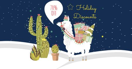 Ontwerpsjabloon van Facebook AD van Holiday Discounts Offer with Cute Lama