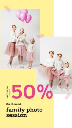 Family Photo Session Offer with Mother and Daughters Instagram Story Design Template