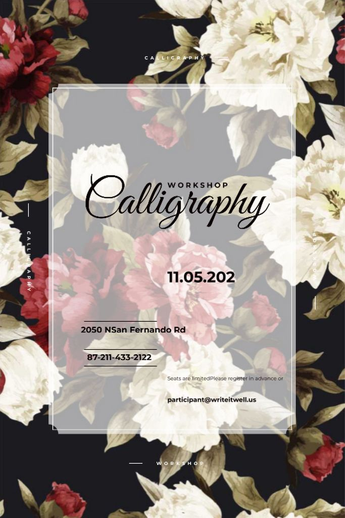 Calligraphy workshop Announcement with flowers Tumblr Design Template