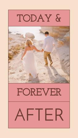 Happy Couple on Beach on Wedding Day Instagram Story – шаблон для дизайну