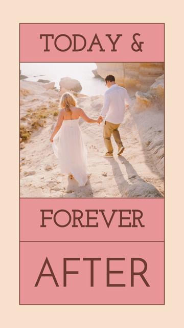 Happy Couple on Beach on Wedding Day Instagram Story – шаблон для дизайна